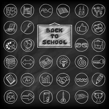 Hand drawn school buttons set.  Chalk board effect.  Back to school concept.   Vector