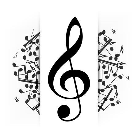 clave de sol: Fondo musical con clave y algunas notas ilustraci�n vectorial Resumen