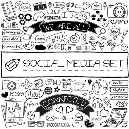 social media marketing: Doodle iconos de redes sociales establecidas.