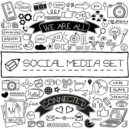 Doodle social media icons set. Vector