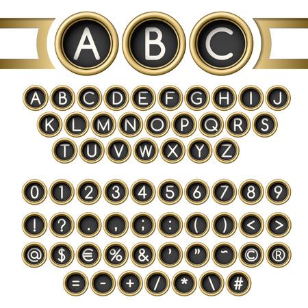 type writer: Impostare lettere d'epoca. Tasti della macchina da scrivere Alfabeto d'oro Vettoriali