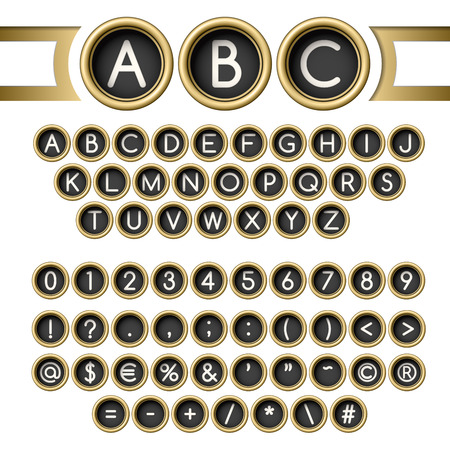 keyboard key: Vintage letters set. Golden typewriter buttons alphabet