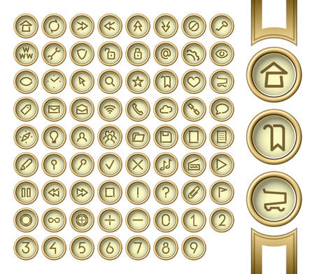 Internet and media user interface icons set.  Vector