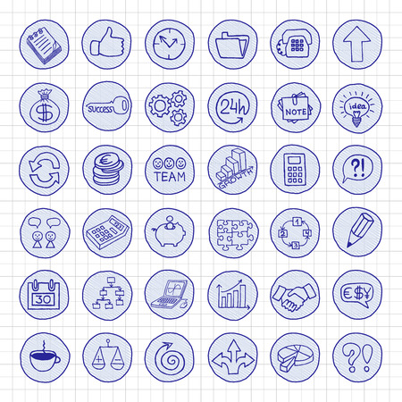 romance strategies: Hand drawn business buttons set with arrows, diagrams, puzzle pieces, thumbs up and more.
