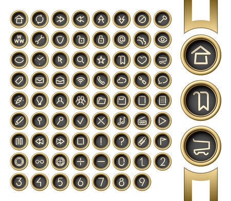 Golden buttons. Internet and media user interface icons set. Vintage typewriter style Vector