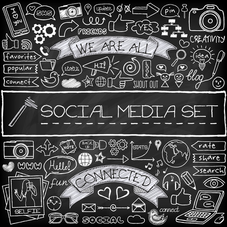 Doodle social media icons set with chalkboard effect. Networking concept with speech bubbles, mobile phone, tags with captions and other design elements Stock Illustratie