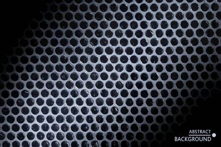 Abstract modern geometrical background. Black circles on white light beam. Vector illustration.