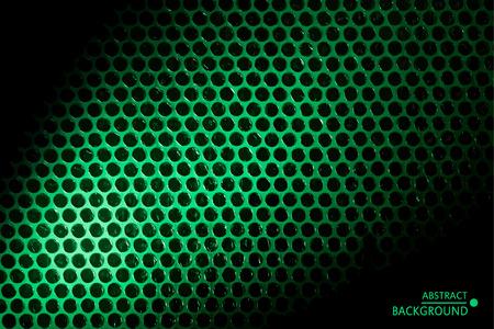 Abstract modern geometrical background. Black circles on green light beam. Vector illustration. Çizim