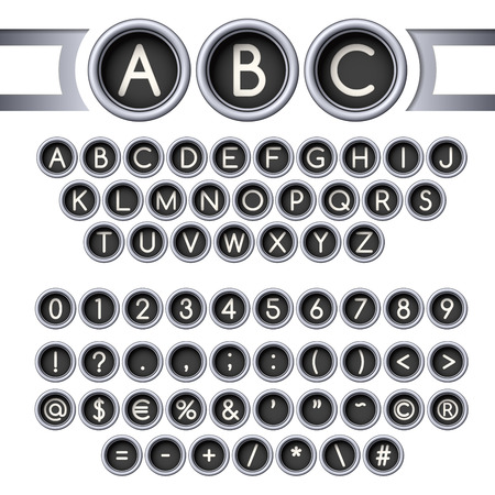 Vintage typewriter round buttons alphabet, silver colors. Illustration