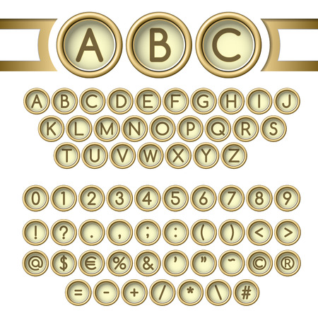 Vintage letters set. Golden typewriter buttons alphabet