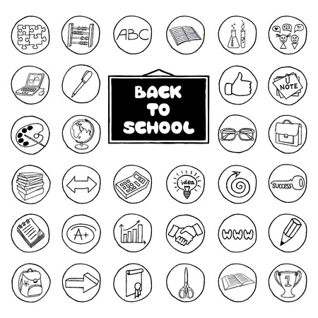 Hand drawn school buttons set. Back to school concept. Vector Illustration. Vector