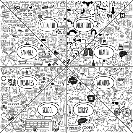 Mega set of doodle social, business, medicine, vacation and school icons, banners, arrows and speech bubbles. Hand drawn designer elements. Vector illustration