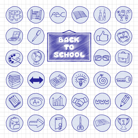 Doodle school buttons. Pen hand drawn vintage effect. Back to school concept. Vector