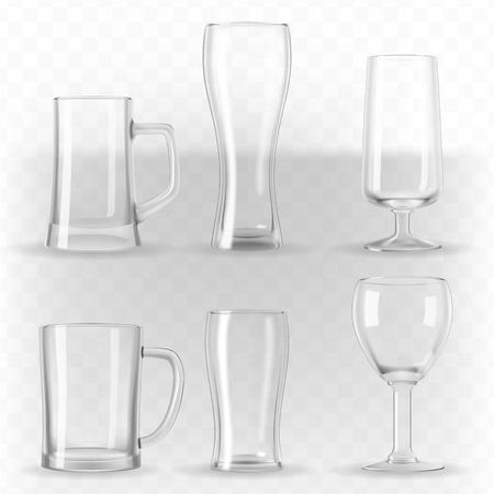 写実的な透明なビールのグラス、マグカップ、ゴブレットのベクトルを設定します。