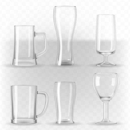 Vector set of photo-realistic transparent beer glasses, mugs and goblets.