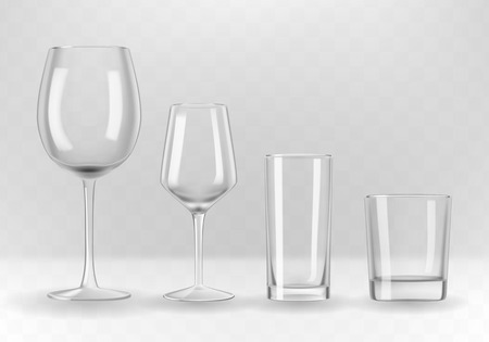 Vector set of photo-realistic transparent wine, water and whiskey glasses.