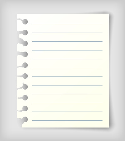 Small note paper sheet with lines. Realistic vector illustration.