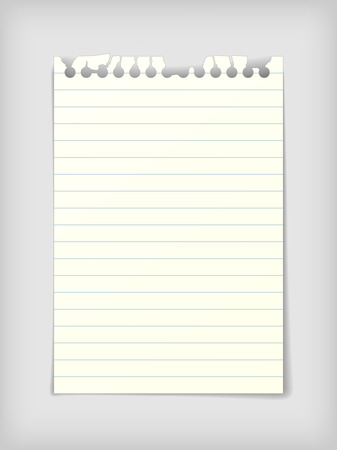 Small note paper sheet with lines, photo realistic vector illustration