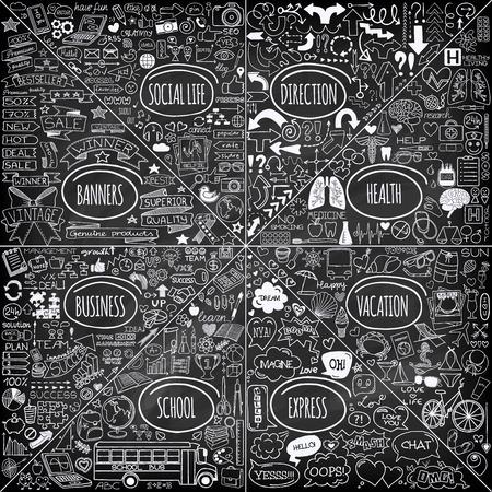 Mega-Set von Doodle Social, Business, Medizin, Urlaub und Schule Ikonen, Banner, Pfeile und Sprechblasen. Hand gezeichnet auf Kreidetafel-Designerelementen. Vektorillustration Standard-Bild - 31278627