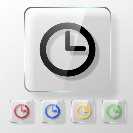 Clock icon on a transparent glossy square. Save time concept. Vector
