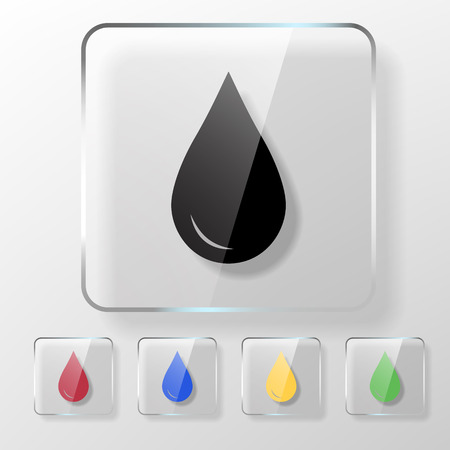 save the environment: Water, oil or blood drop icon on a transparent glossy square. Save environment  donate blood concept.