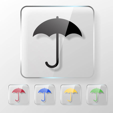 Umbrella icon on a transparent glossy square. Protect from rain concept. Vector