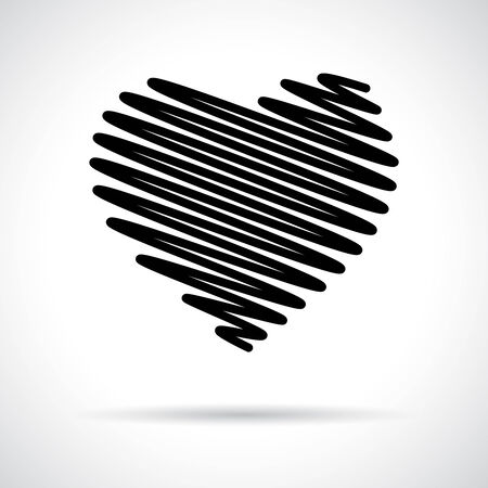Heart icon. Black flat symbol with shadow. Love concept Vector