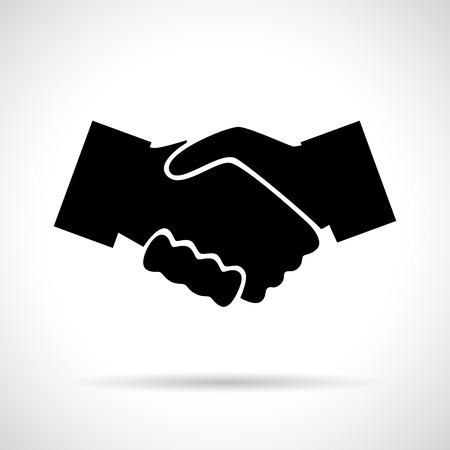 악수입니다. 그림자와 함께 블랙 평면 아이콘입니다. 비즈니스, 계약, 회의 및 개념을 축하. 일러스트