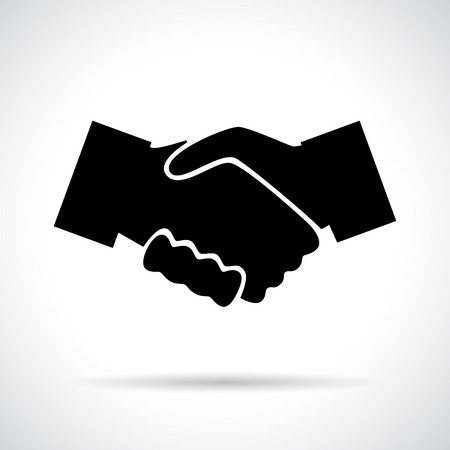 colleague: Handshake. Black flat icon with shadow. Business, agreement, meeting and congratulating concept.