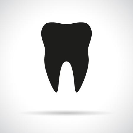 Icona Tooth. Simbolo piatto nero con ombra. Archivio Fotografico - 31759026