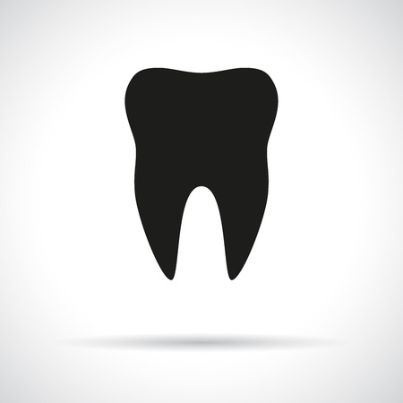 Tooth icon. Black flat symbol with shadow.
