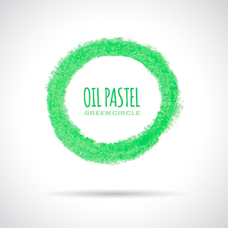 Green circle icon, hand drawn with oil pastel crayon. Corporate logo, ecology concept. Vector