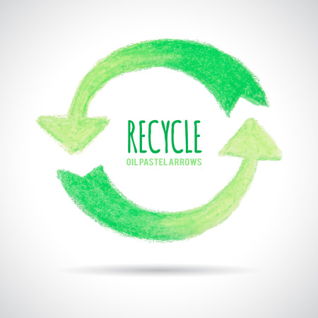 Recycle icon, hand drawn with oil pastel crayon. Green arrows circle shaped. Place for text. Ecology concept. Vector