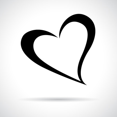 Heart icon. Black flat symbol in a circle. Love concept Vettoriali