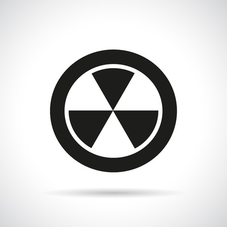 radiation hazard: Radiation hazard symbol with a shadow. Black flat icon. Illustration