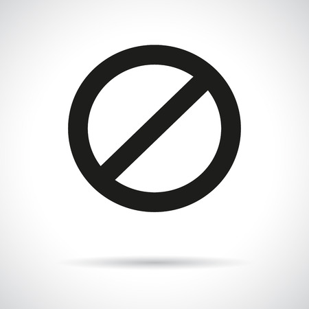 no entry sign: Prohibition symbol with a shadow. Black flat icon. Illustration