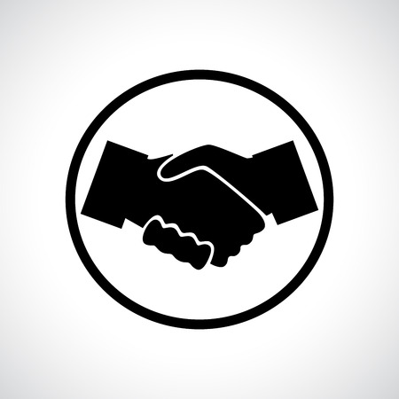 congratulating: Handshake. Black flat icon in a circle. Business, agreement, meeting and congratulating concept. Illustration