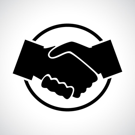 Handshake. Black flat icon in a circle. Business, agreement, meeting and congratulating concept. Illustration