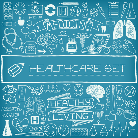 Hand drawn medical set of icons with medical and science tools, human organs, diagrams etc. Vector illustration. Vector
