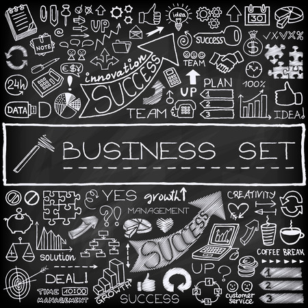 set up: Hand drawn business icons set with arrows, diagrams, puzzle pieces, thumbs up and more