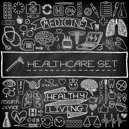 Hand drawn medical set of icons with medical and science tools, human organs, diagrams etc. Black chalkboard effect. Vector illustration. Vector