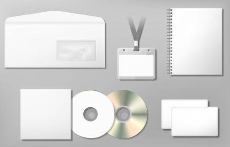 Blank corporate identity template, photo realistic vector illustration. Illustration