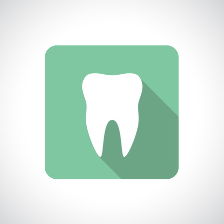 Tooth icon with shadow. Square icon. Flat modern design. Vector