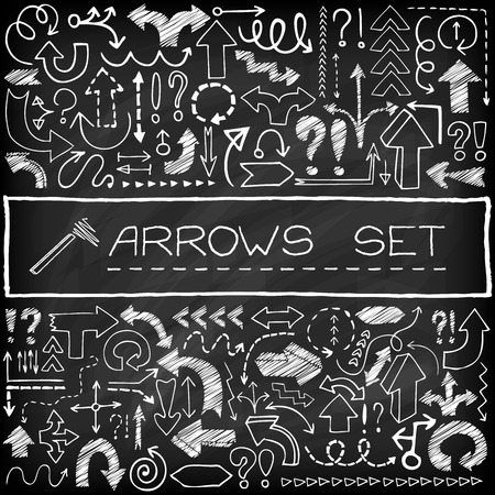 Doodle arrow icons set with question and exclamation marks. Chalk board effect. Vector Illustration. Stock Illustratie