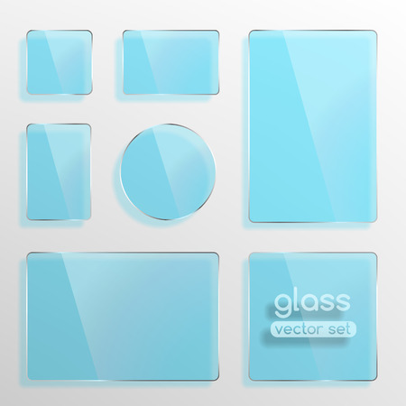 Glass plates set, square, rectangle and round in blue color. Photo realistic vector illustration Vector