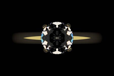 Golden ring with diamond, top view. Dark key, black background. photo