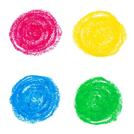 Beautiful oil pastel round design elements. Vector illustration.