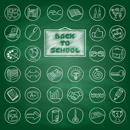 Doodle school buttons, green chalk board effect. Hand drawn vintage style Vector