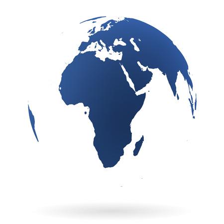 매우 상세한 지구 글로브, 아프리카 및 중동 일러스트