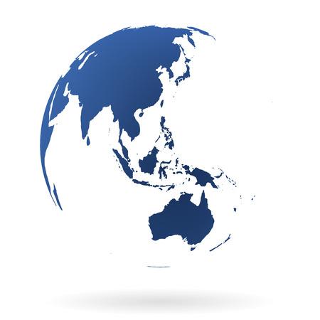 oriente: Tierra mundo muy detallado con Australia, Nueva Zelanda y Oceanía Vectores